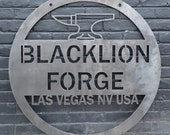 Personalized Hanging Metal Anvil Sign - Blacksmith Forge Wall Art - Man Cave Garage Workshop Decor