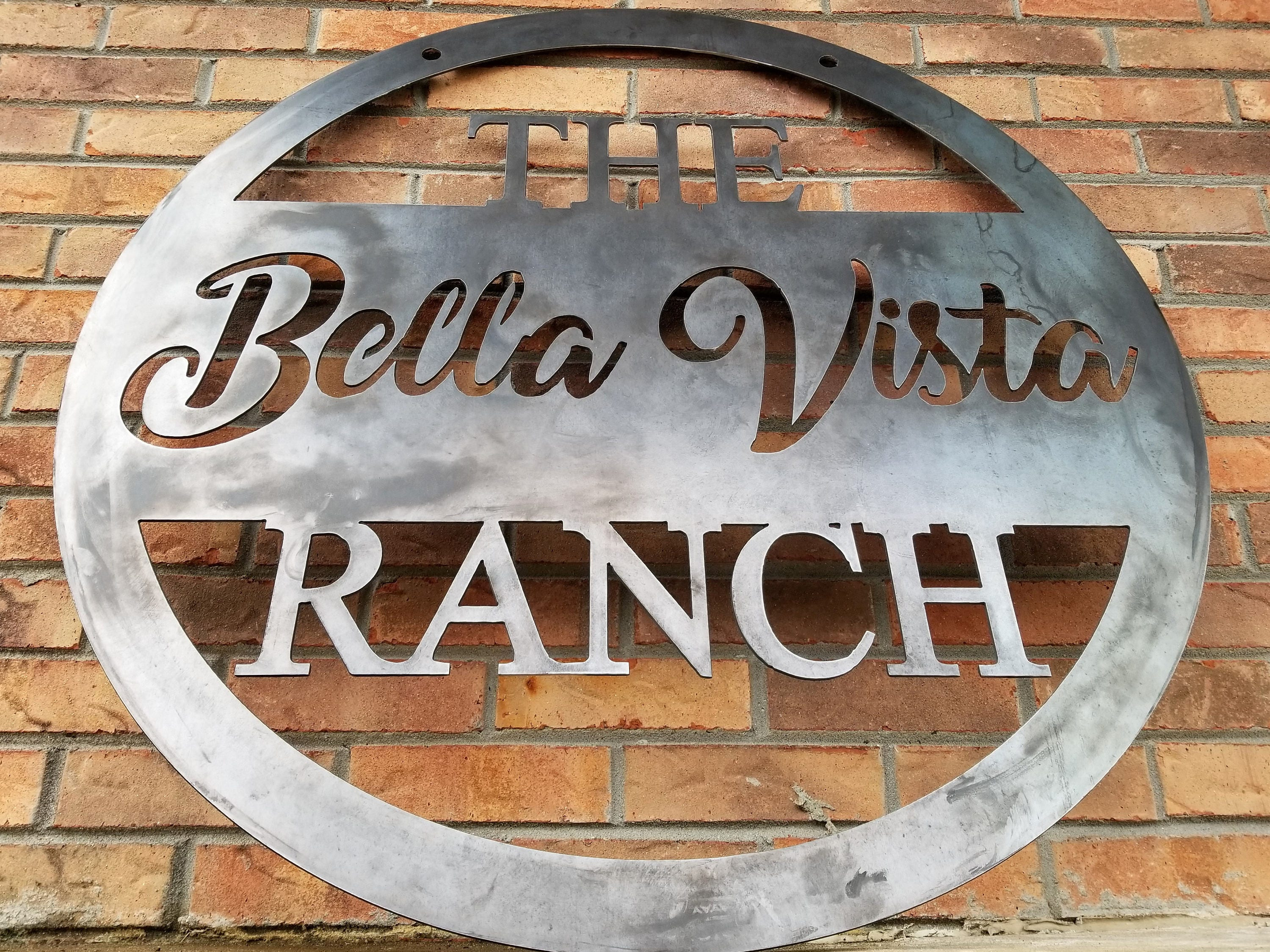 Hanging Farm or Ranch Sign - Custom Cursive Metal Farm Sign - Family Farm  Farmer Ranch - Best Wedding GIft 2019