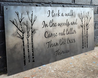 I Took a Walk in the Woods Metal Sign - Rustic Wilderness Cabin Decor - Henry David Thoreau Quote - Wanderlust Wall Art - Wall Art