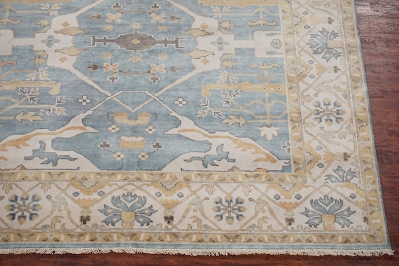 8x8 Square Oushak Area Rug Light Blue Ivory Turkish Design Hand Knotted And Vegetable Dyed Wool Oriental Carpet 7 10 X 8