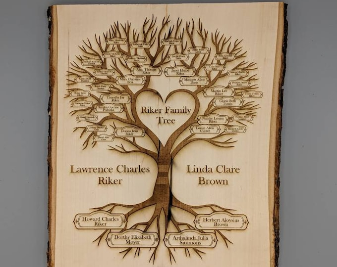 Featured listing image: Custom Family History Tree Laser Engraved Plaque