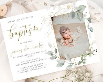 Personalised Geometric Boy or Girl Christening Baptism Invitations Invites