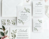 Greenery Wedding Invitation Template Download, Invitation template, Invitation Printable, Invite Set, Invitation Download, Suite, Templett