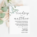 Greenery Wedding Invitation, Wedding Invitation template, Wedding Invitation Printable, Invitation Set, Invitation Download, Suite, Templett