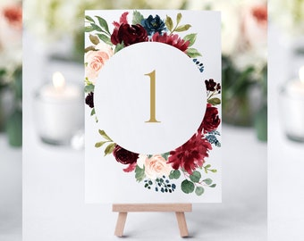 Burgundy Printable Table Numbers, Printable Table Numbers, Floral Table Numbers Wedding, Table Numbers Printable, Table Numbers Template