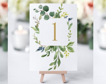 Printable Table Numbers, Greenery Table Numbers, Table Number Cards, Table Number Templates, Wedding Numbers, Greenery Wedding Decor