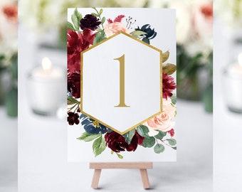 Burgundy and Blush Table Numbers, Printable Table Numbers, Floral Table Numbers Wedding, Table Numbers Printable, Table Numbers Template