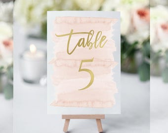 WaterColor Table Numbers, Blush Table Numbers Wedding, Table Numbers for Wedding, Table Numbers Printable,Table Numbers Template,Blush Decor