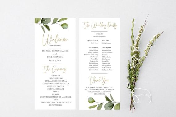 Eucalyptus Wedding Program Template Wedding Programs Instant Etsy