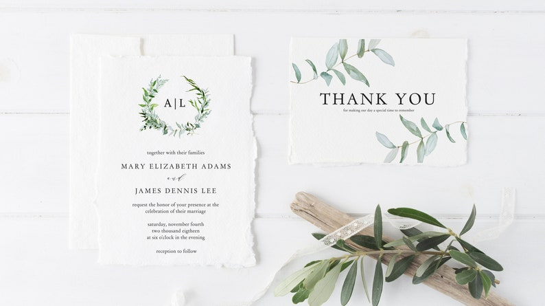 Greenery Wedding Invitation Template Printable PDF Download