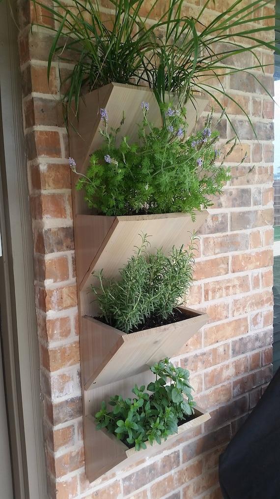 Wall Planter Box Herb Garden Planter 4 Tier Vertical Etsy