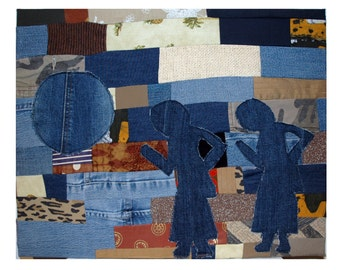 """Fabric-Wrapped Panel--""""Walk to the Spirits"""""""