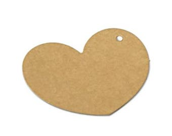 100 pcs. Heart Kraft paper gift tags, favor tags, merchandise tags