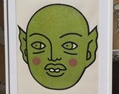 Artwork - Colored shaped Glittery Green Alien painted - Home Decoration