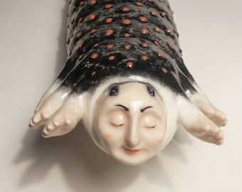 Blacky Long Ceramic Sculpture Caterpillar