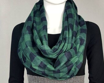 Green& black plaid infinity flannel scarf
