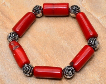 Wow!  Be VIBRANT! Red Sea Bamboo Coral and Tibetan Silver Vintage Bracelet, stretchy