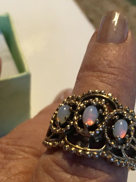 Sz6 Fire Opal Orange Pink Flash Vintage 18K High Gold Electroplating Filigree Ring Band GORGEOUS!