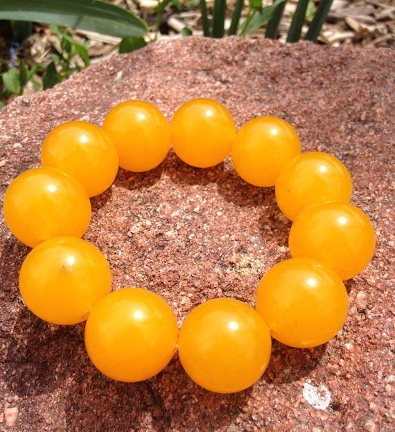 100/% Natural jade Stone Yellow Jade 20mm Bead Beads Bangle Stretchy Bracelet New