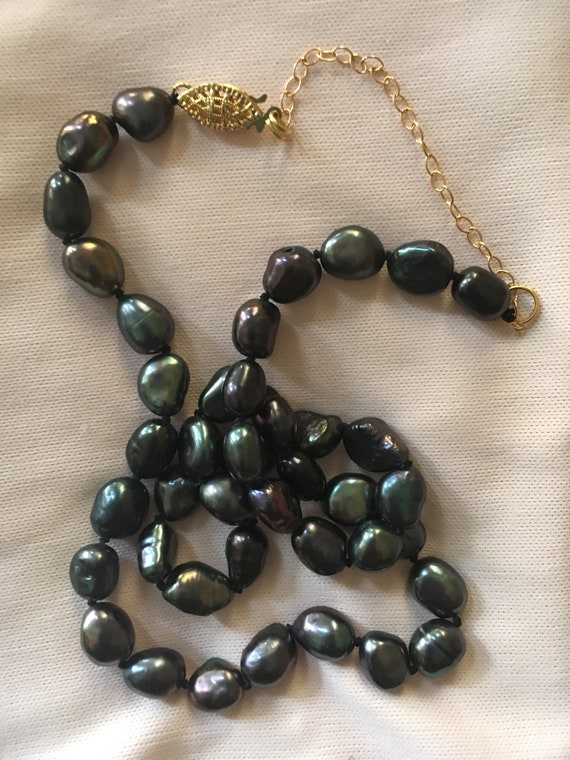 """Real 7-8MM REAL BLACK Tahitian PEARL NECKLACE 14K GOLD CLASP 18/"""""""