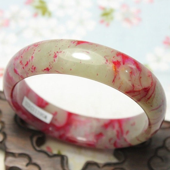 Naturel 100/% Noir chinois jade jadeite Bangle Bracelet handmade 54-55 mm