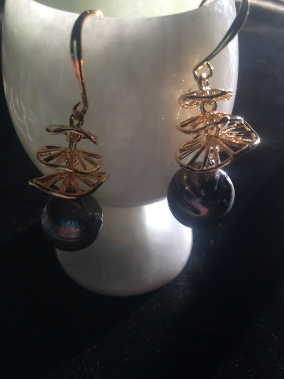 Baroque Tahitian Large Gold Swirl Earrings!