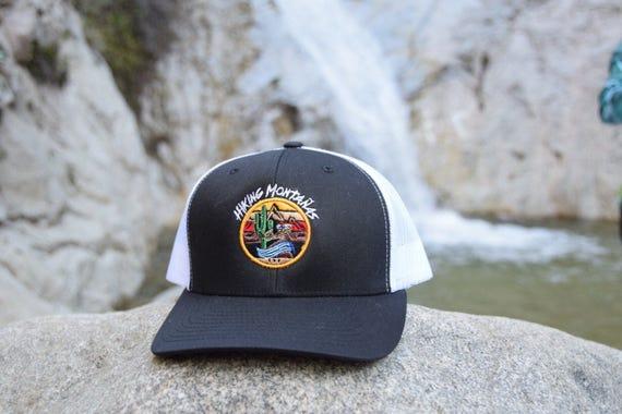 Hiking Montañas  Black White Trucker hat  9cc8f66db8c