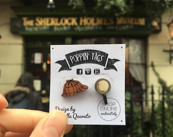 Wooden EARRINGS, laser cut: SHERLOCK HOLMES