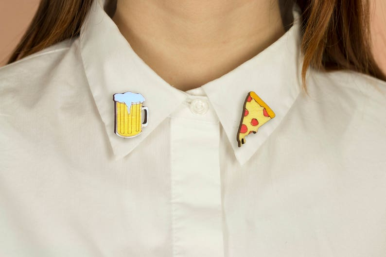 Wooden Collar Pins Lasercut Pizza And Beer