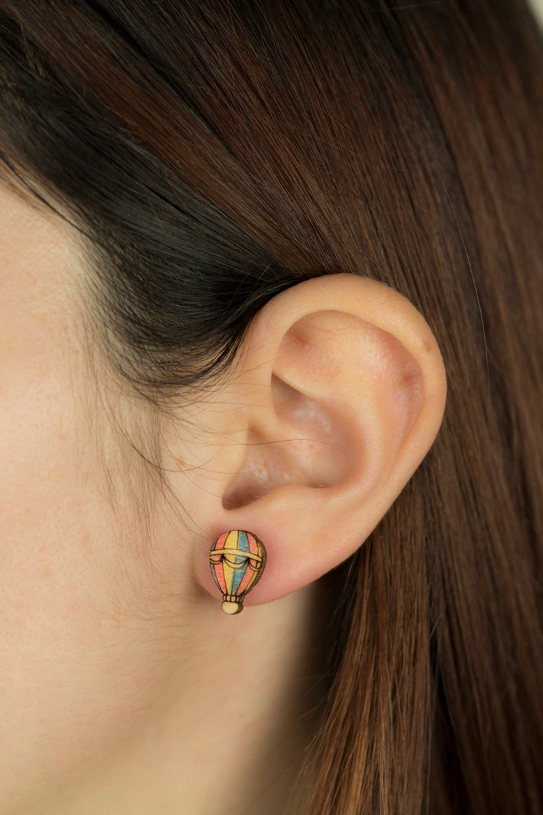 Wooden and Steel EARRINGS hypoallergenic HotAirBALLOON laser cut
