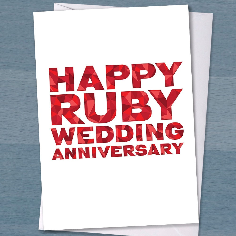 40th wedding anniversary Happy Ruby Wedding | Etsy