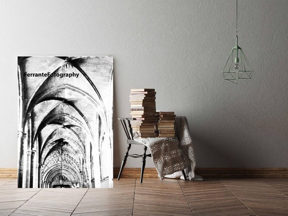 Cathedral Barcelona Spain Arches Photo Architecture Print Sepia Photography Art and Collectibles Wall Decor Church Photo Home Decor Arches