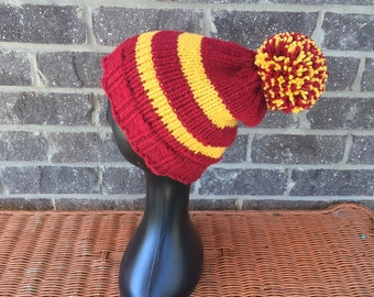 db6ebc204f6 striped knit hat harrys house hat knit potter hat hand knit hat hogwarts  house hat maroon and gold knit hat adult knit hat unisex knit hat