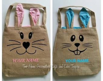 Easter Bunny Bag - Bunny Ear Bag - Personalised Easter Bag - Easter Egg Basket - Easter Egg Hunt Bag - Easter Tote - Easter Bag -