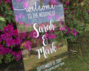 Acrylic/Clear Perspex Personalised Custom Made Wedding Welcome Sign