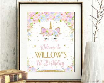 Unicorn Welcome Sign Poster Birthday Party Watercolor Pastel 1st Decoration Wall Art Personalized Printable UB2