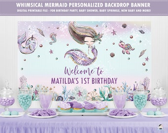 PERSONALISED PHOTO MERMAID TAIL BIRTHDAY BANNER 1st 2nd 3rd AGE NAME PARTY