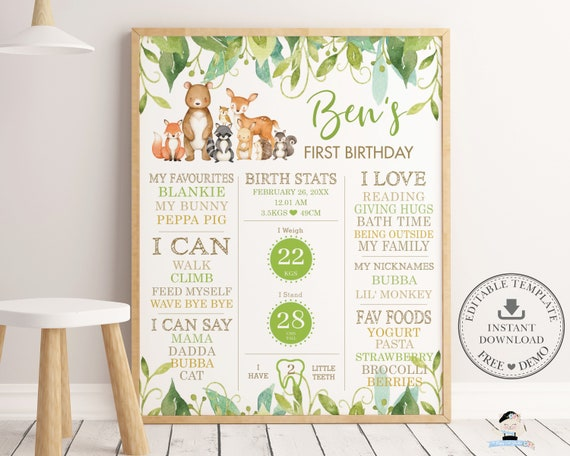Boy or Girl/'s Milestone Poster Board Printable Editable Winter 1st Birthday Party Milestone Sign Blue and White Forest Landscape with Mice