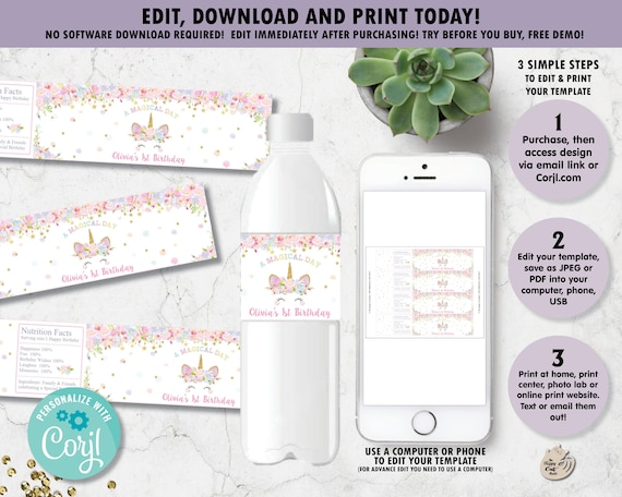 Editable Template Unicorn Water Bottle Labels Stickers 1st Etsy