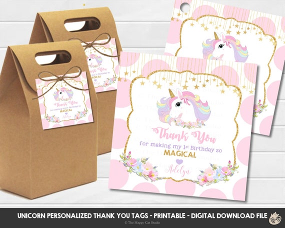 Personalised thank you baby shower//birthday labels//stickers unicorn pastel party
