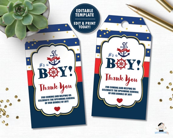 Printable Nautical Boy Baby Shower Favor Tags Editable Templates for Custom Blue Baby Shower Candy Tags