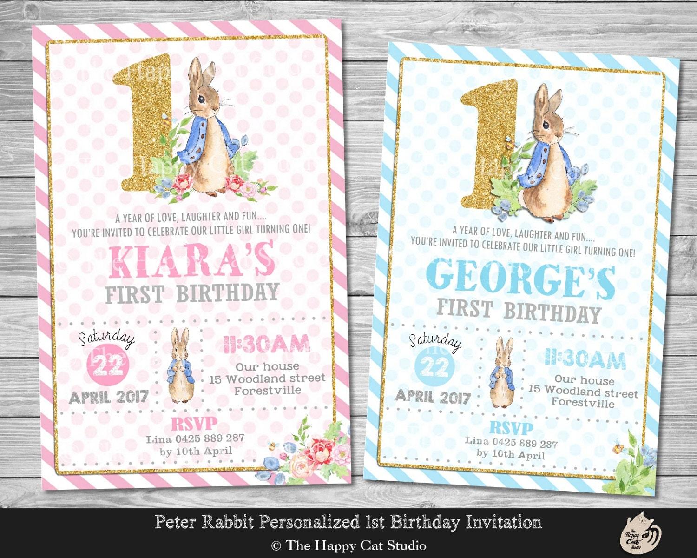 Peter Rabbit Invitation Personalized 1st Birthday | Etsy