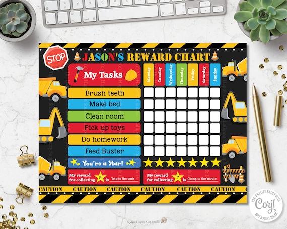 Editable Template Construction Reward Chart Digital Printable Digger Truck Chore Potty Training Behaviour