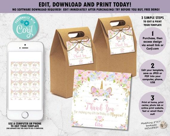 Birthday Girl Party Printables Birthday Thank You Favor Bag Tag UNICORN Unicorn Gift Tag