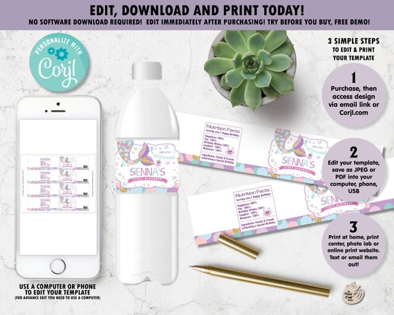 Mermaid Water Bottle Labels Stickers Wrappers Printable Etsy
