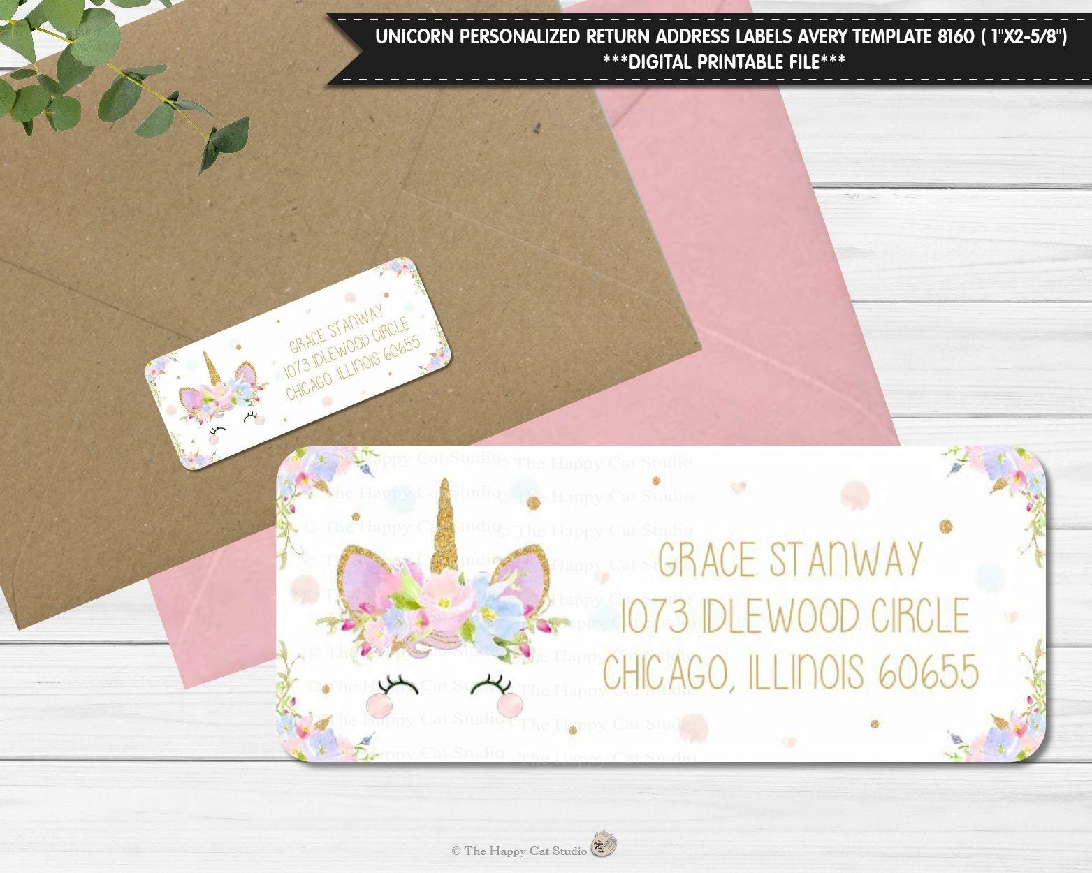 Unicorn Return Address Labels Avery Template 8160 1st Etsy