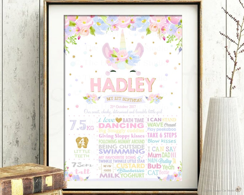 Unicorn 1st Birthday Milestone Sign, Girl, Floral, First, Party, One,  Poster, Milestones, Stats, Nursery Wall Decor Art, Watercolor, Gold