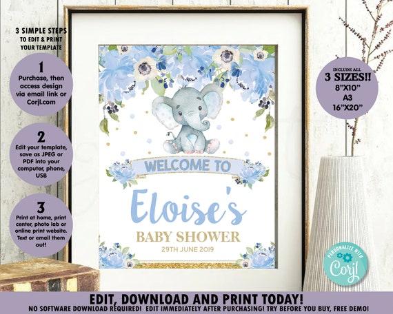 editable pdf printable template boy baby shower sign baby shower sign prince Elephant baby shower Elephant baby shower welcome sign