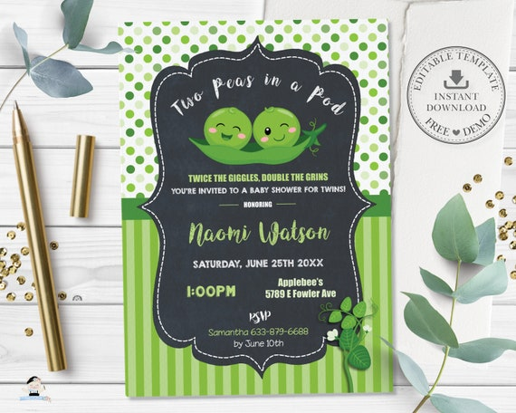 pea seed packet baby shower invitations 75 pea in a pod