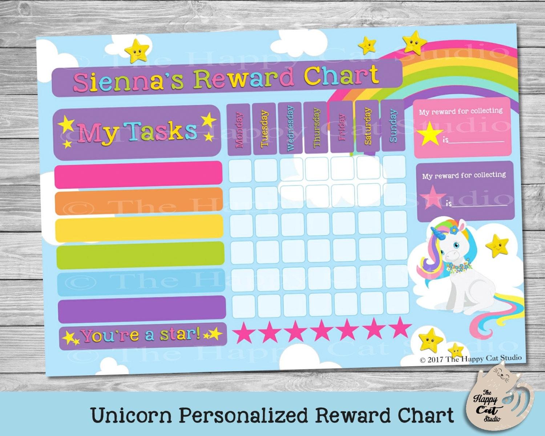 Unicornio personalizada tabla de recompensa archivo Digital   Etsy